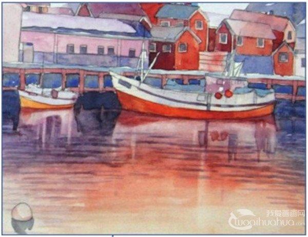 学画画 水彩画教程 水彩风景画 > 水彩雪山小镇的绘画技法(8)      16