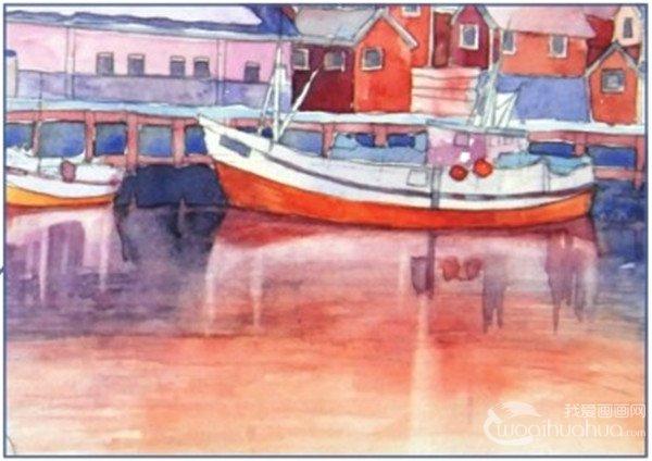 学画画 水彩画教程 水彩风景画 > 水彩雪山小镇的绘画技法(8)      15