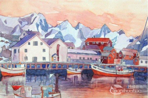 水彩雪山小镇的绘画技法