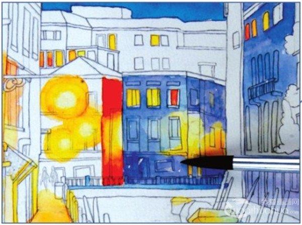 水彩威尼斯夜景绘画步骤五-2
