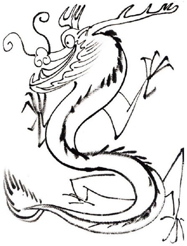 水墨十二生肖辰龙的绘画步骤二