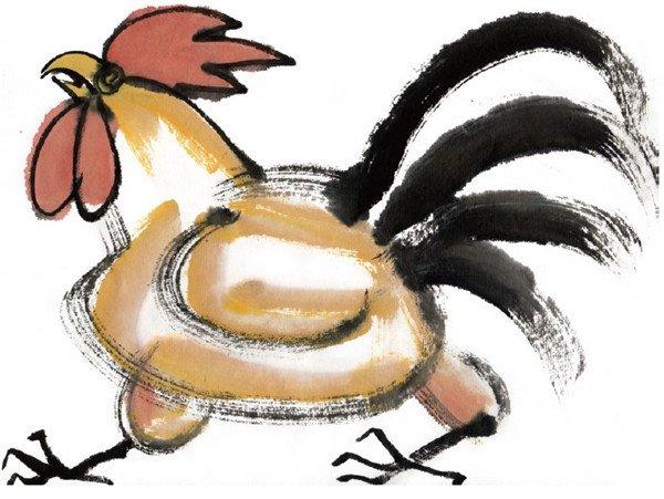 水墨十二生肖酉鸡的绘画步骤三