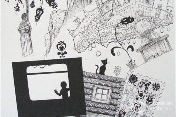 斯洛伐克插画师布兰登的黑白装饰画作品赏析