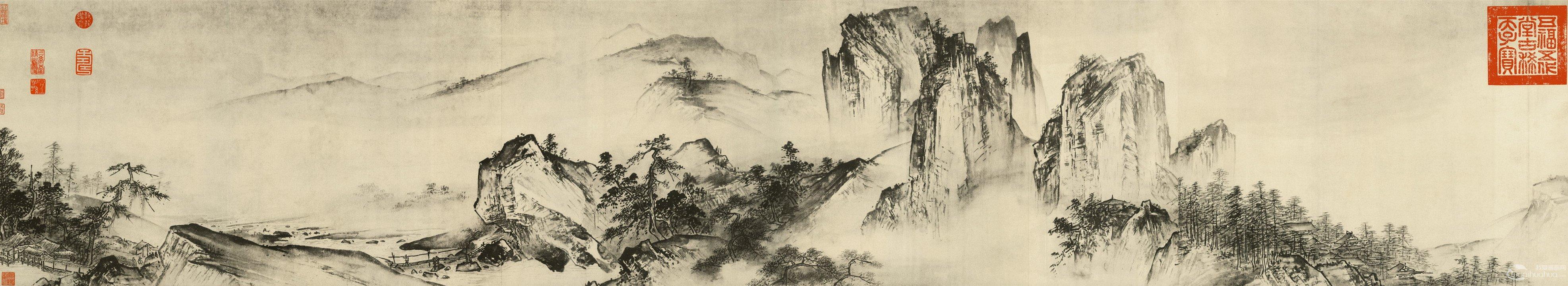 《溪山清远图》(第一段)高清大图欣赏    宋夏圭水墨山水长卷《溪山图片