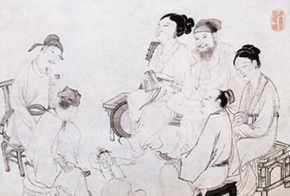 吴伟人物画《歌舞图》作品欣赏