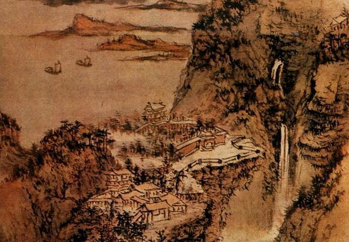 髡残山水画《层岩叠壑图》作品欣赏