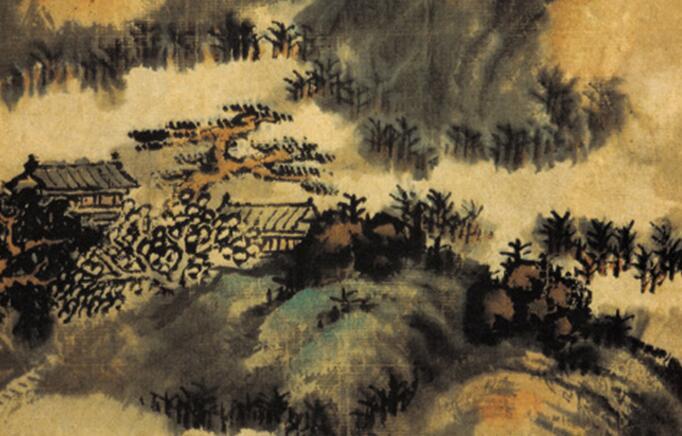 髡残山水画《松岩楼阁图》作品欣赏