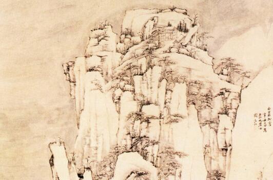 弘仁山水画《西岩松雪图》作品欣赏