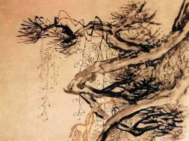 李�W花鸟画《松藤图》作品欣赏