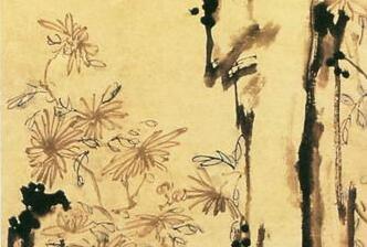 李方膺花鸟画《菊石图》作品欣赏