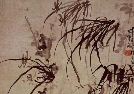 李方膺花鸟画《兰石》作品欣赏
