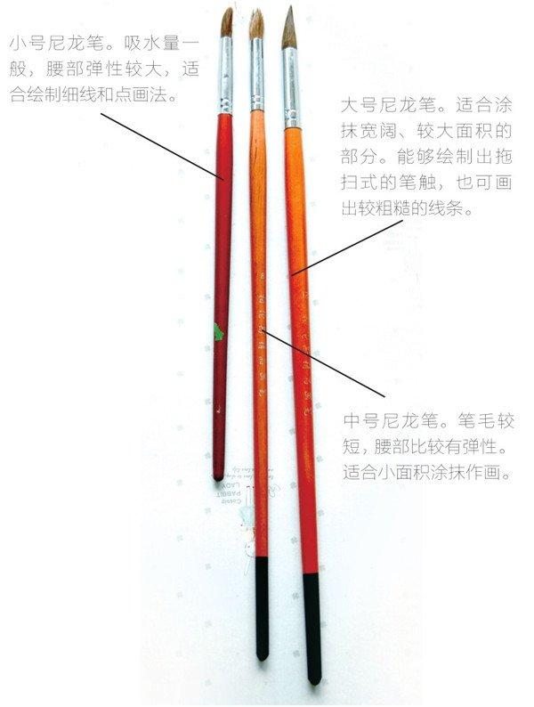 水彩工具大大小小的毛笔_水彩画教程_学画画_我爱画画