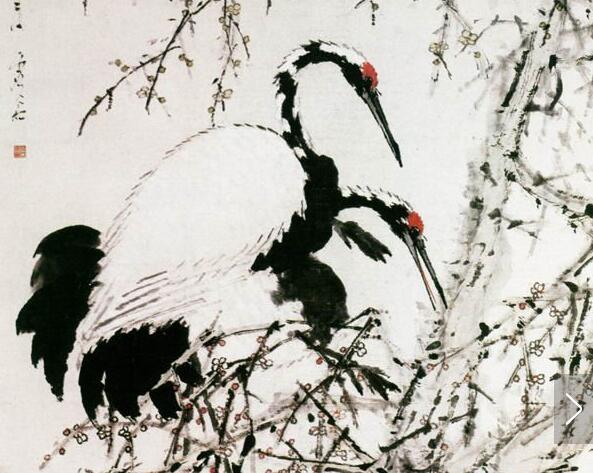 虚谷花鸟画《梅鹤图》作品欣赏