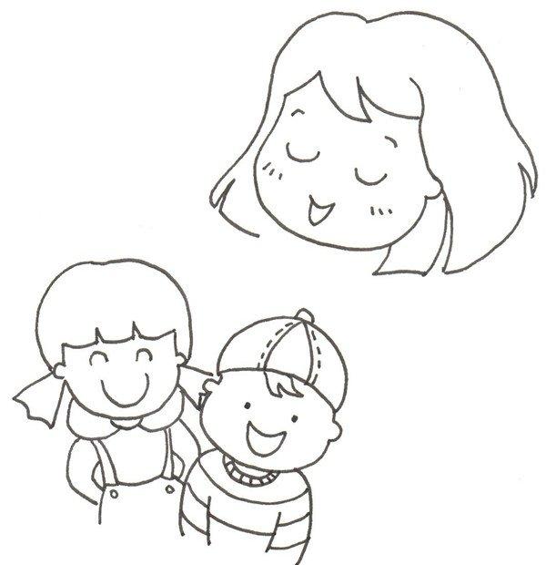 幸福一家人绘画步骤五 6,爸爸的头在妈妈的左侧,爸爸戴着眼镜.