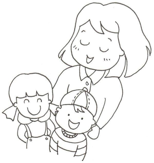卡通人物画幸福一家人 2