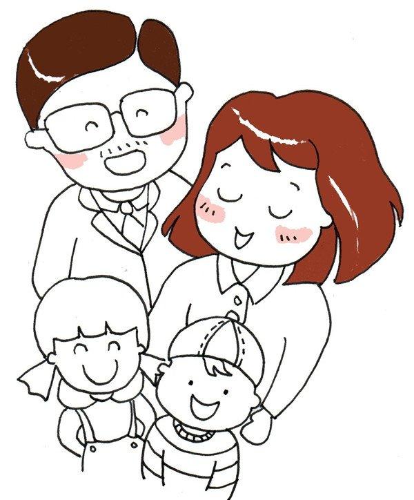 幸福一家人绘画步骤八