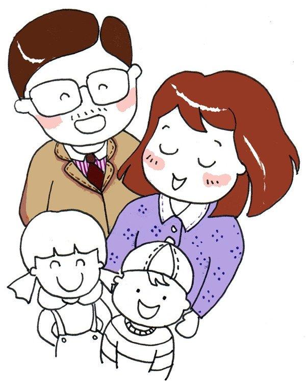 卡通人物画幸福一家人(3)