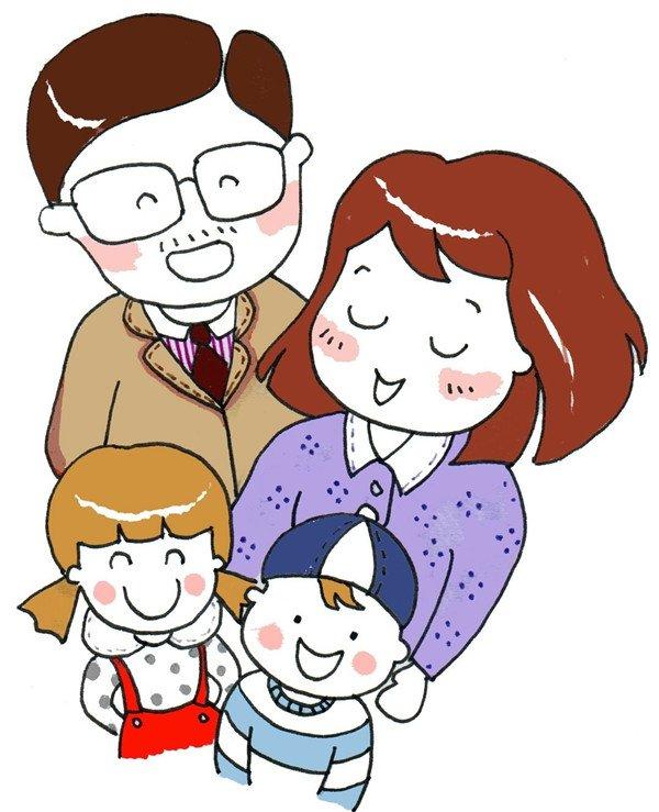 卡通人物画幸福一家人(3)_儿童画教程_学画画_我爱