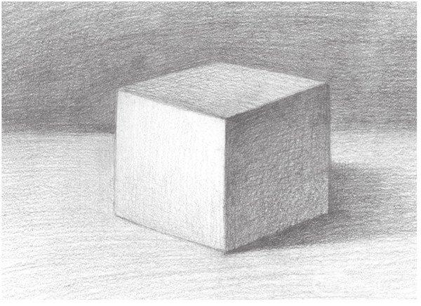 几何体素描之正方体绘画步骤