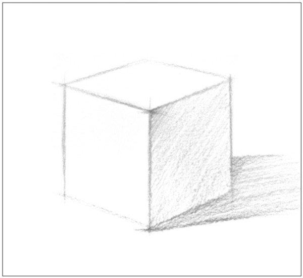 3、使用4B铅笔,确定出正方体的明暗交界线并画出暗面调子。  几何体素描之正方体绘画步骤三 4、接着画出投影的整体调子,这样就形成了正方体的大体效果。  几何体素描之正方体绘画步骤四 5、使用较密的排线对物体的暗面调子进行刻画。注意调子的深浅变化。  几何体素描之正方体绘画步骤五 6、随后对投影的调子进行深入刻画。注意调子的虚实变化。  几何体素描之正方体绘画步骤六