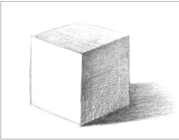 8、用2B铅笔,对正方体上部的灰面进行深入刻画。注意调子的深浅变化。  几何体素描之正方体绘画步骤八 9、用6B铅笔,对暗部的色调进行细致深入的整体塑造与刻画。  几何体素描之正方体绘画步骤九 10、最后对画面进行统一调整,画出丰富的明暗调子。  几何体素描之正方体绘画步骤十 用HB铅笔,细致刻画出正方体的亮面调子。  几何体素描之正方体绘画步骤十-1 用2B铅笔,画出背景调子与台面调子。对画面进行整体调整。  几何体素描之正方体绘画步骤十-2