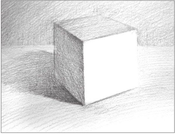 几何体素描之正方体绘画步骤八
