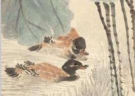 任伯年花鸟画《荷花鸳鸯图》作品欣赏