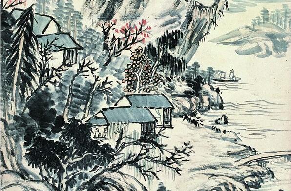 蒲华山水画《倚篷人影出菰芦图》作品欣赏