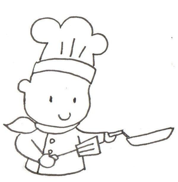 卡通人物画厨师的绘画步骤(3)