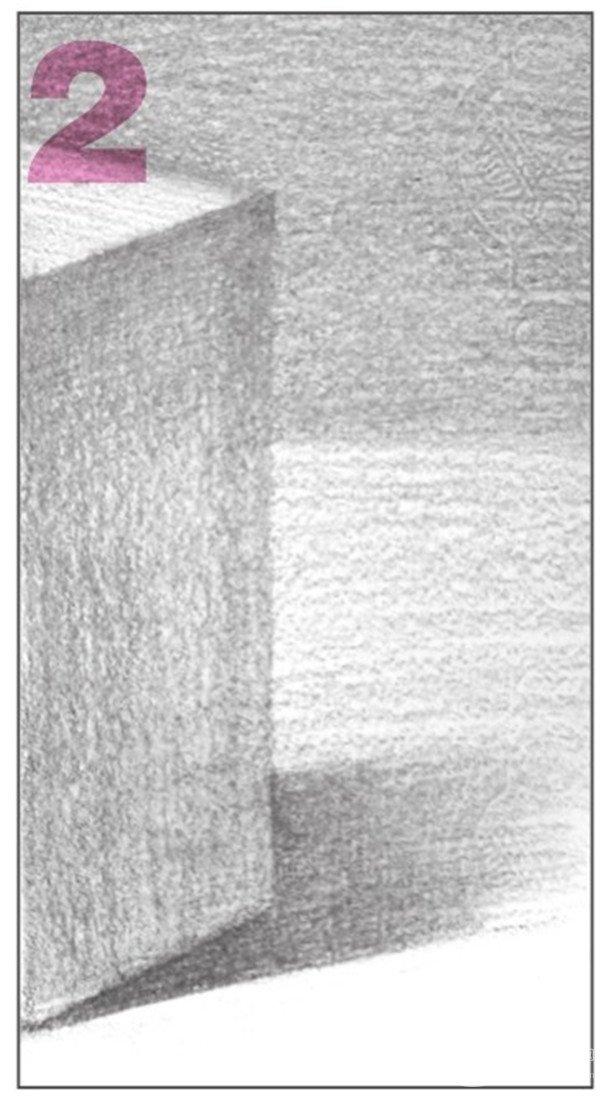 7、画出长方体左侧平面与右侧平面的调子,使其色调层次分明。  几何体素描之长方体的绘画步骤七 使用4B铅笔,有序地画出长方体左侧的排线。  几何体素描之长方体的绘画步骤七-1 以同样的方法,画出长方体右侧调子的排线。  几何体素描之长方体的绘画步骤七-2