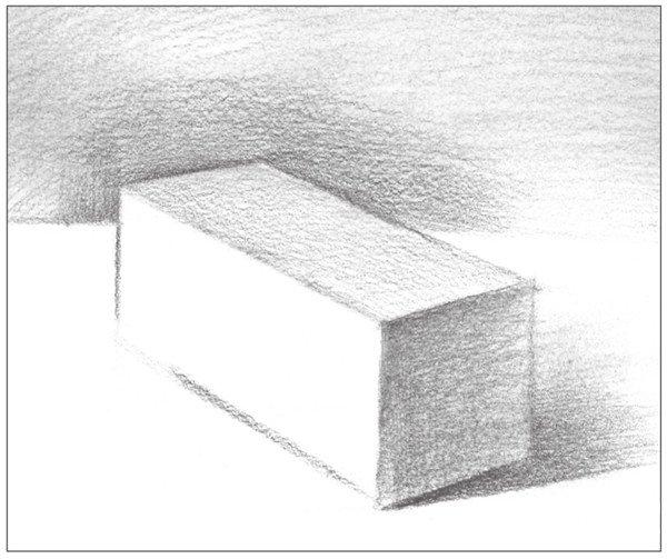 4、使用2B铅笔,画出长方体上部的灰面调子。注意排线方式。  几何体素描之长方体的绘画步骤四 5、使用4B铅笔,画出长方体背景的整体调子。注意排线密度与变化。  几何体素描之长方体的绘画步骤五 6、然后,加上长方体背景的暗部调子。注意排线的方向。  几何体素描之长方体的绘画步骤六