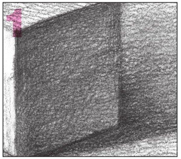 8、使用4B铅笔,画出长方体背景的整体调子。注意排线密度与变化。  几何体素描之长方体的绘画步骤八 9、然后,加深长方体背景的暗部调子。注意排线的方向。  几何体素描之长方体的绘画步骤九 10、加强对长方体暗面及背景的整体刻画,使画面有空间感。  几何体素描之长方体的绘画步骤十 使用4B铅笔,对长方体的暗面进行深入细致的刻画。  几何体素描之长方体的绘画步骤十-1 加强背景的暗部调子,注意排线的深浅变化。  几何体素描之长方体的绘画步骤十-2 对物体的明暗关系进行区分与刻画。对局部也要进行细致的刻画处理。