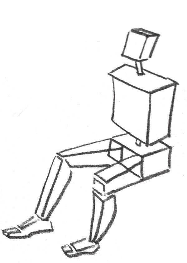 速写人物坐姿结构二