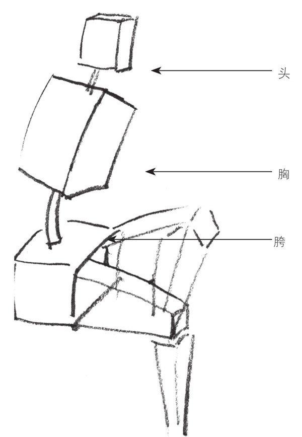 人体方块结构速写素材