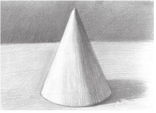 素描圆锥体的绘画步骤