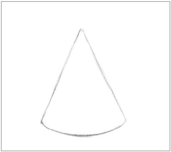 > 素描圆锥体的绘画步骤      1,准确把握圆锥体的形体及透视结构关系