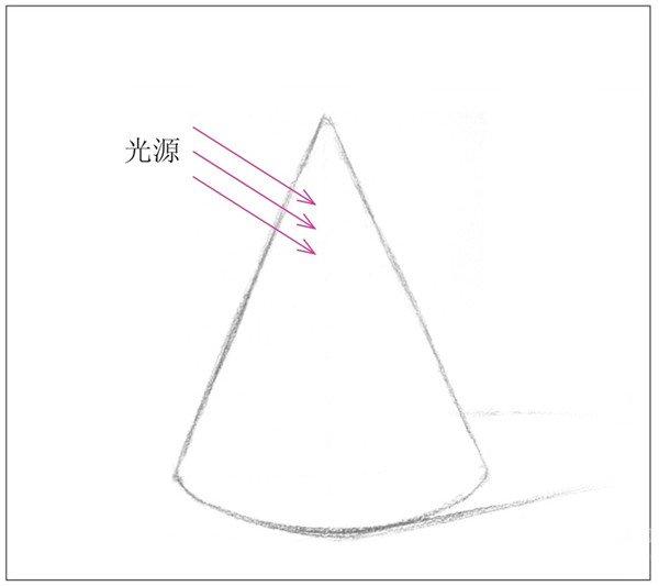几何体素描之圆锥体绘画步骤二