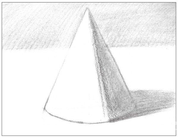 素描圆锥体的绘画步骤(2)