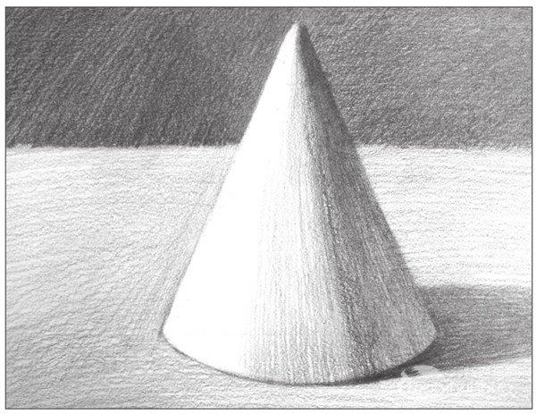 素描圆锥体的绘画步骤(4)