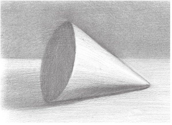 几何体素描之圆锥体绘画步骤