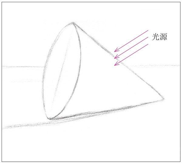 素描圆锥体的绘画步骤(5)