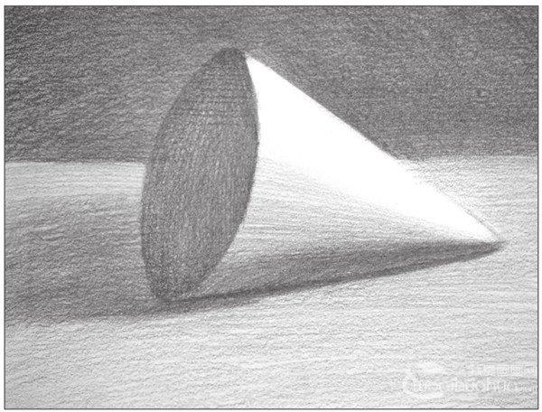 几何体素描之圆锥体绘画步骤九