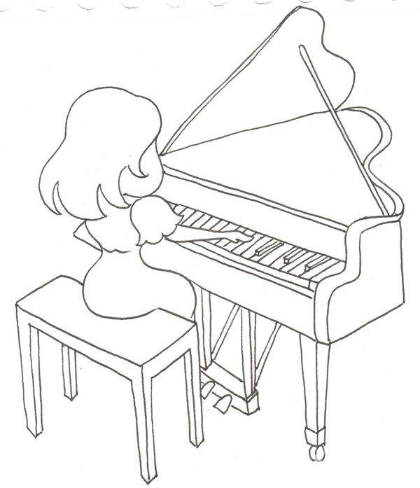 卡通人物画钢琴家的绘画教程(3)