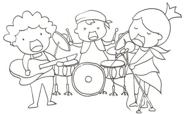 卡通人物画乐队组合的绘画技法(3)_儿童画教程_学画画