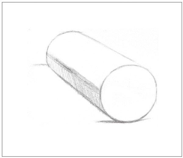 几何体素描之圆柱体绘画步骤三