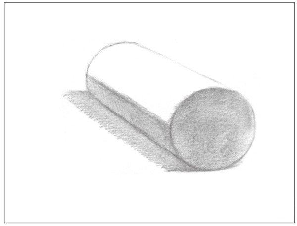 5、使用4B铅笔,画出圆柱体前端圆面的调子。注意排线方向。  几何体素描之圆柱体绘画步骤五 6、使用纸笔,对圆柱体暗面的调子进行整体的擦拭,使其色调统一。  几何体素描之圆柱体绘画步骤六 7、对圆柱体灰面进行刻画,同时画出背景的暗部调子。  几何体素描之圆柱体绘画步骤七 使用2B铅笔,对圆柱体的灰面进行有序的排线。  几何体素描之圆柱体绘画步骤七-1 使用4B铅笔,画出背景的暗部色调。  几何体素描之圆柱体绘画步骤七-2