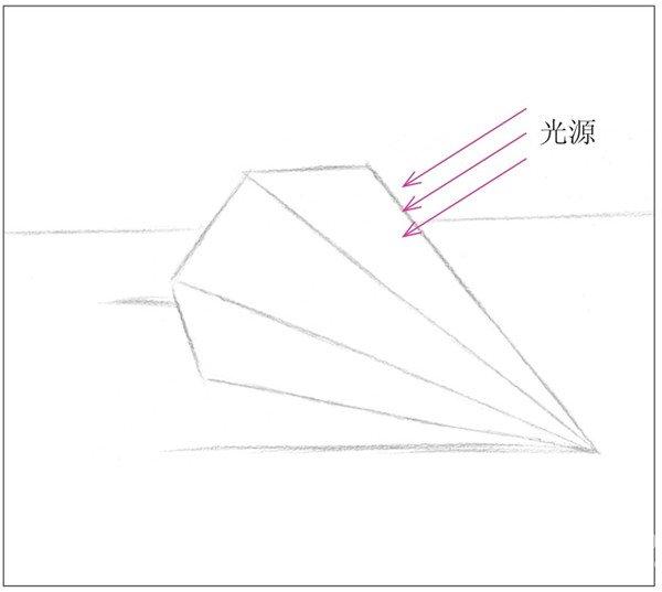 素描六棱锥绘画步骤2