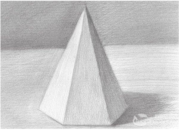 三棱柱素描图片_素描六棱锥