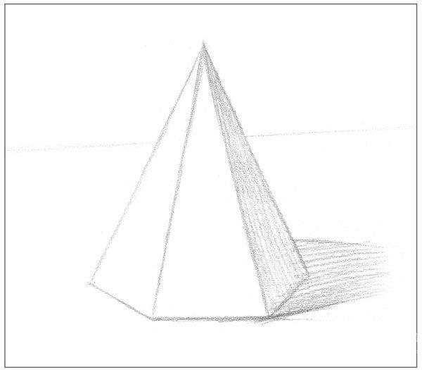 素描六棱锥绘画步骤3