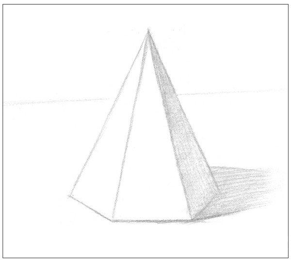 素描六棱锥绘画步骤4